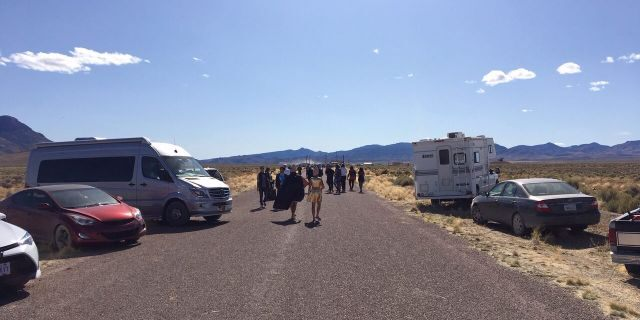 Crowds entertainment outward a behind embankment to Area 51 in Rachel, Nev.