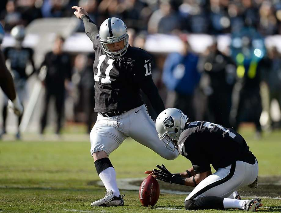 OAKLAND, CA - NOVEMBER 24:  Sebastian Janikowski #11 of a Oakland Raiders kicks a fifty-two yard margin idea opposite a Tennessee Titans during a initial entertain during O.co Coliseum on Nov 24, 2013 in Oakland, California.  (Photo by Thearon W. Henderson/Getty Images) Photo: Thearon W. Henderson, Getty Images