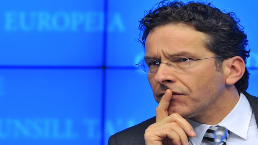 Newly inaugurated Eurozone President and Dutch Finance Minister Jeroen Dijsselbloem attends an Eurogroup meeting.