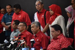 Acting Umno boss Ahmad Zahid (second from right) speaks during a press discussion hold by a celebration in Kuala Lumpur on May 14, 2018.