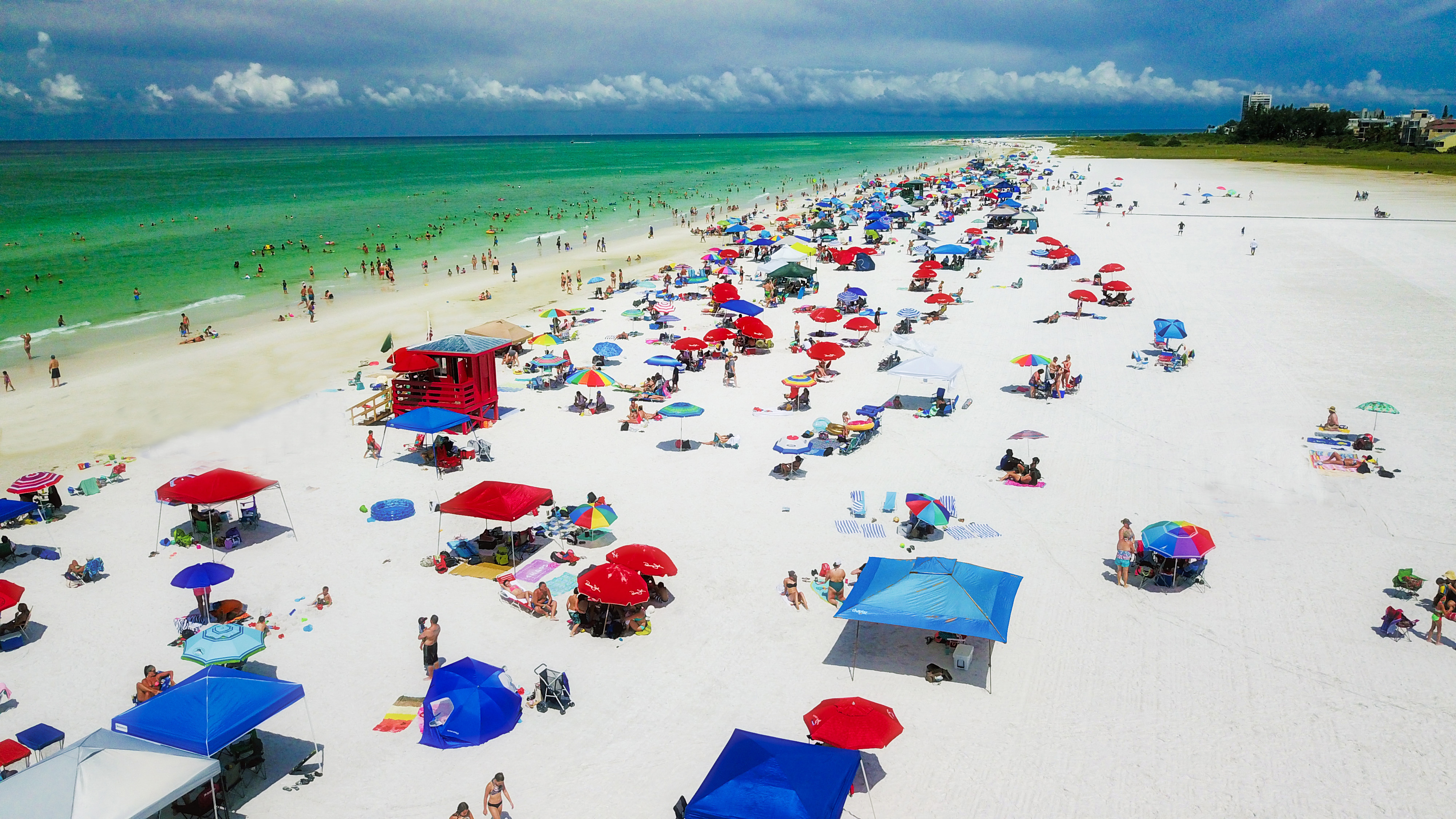 Drone of Siesta Key beach in Sarasota, Florida.