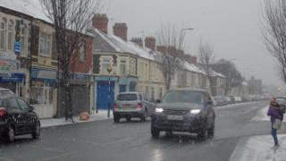Car in sleet in Cardiff