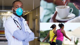 Left: Doctor in a facade in South Africa. Top right: Someone celebration a crater of tea in South Africa. Bottom right: Two women walking in South Africa