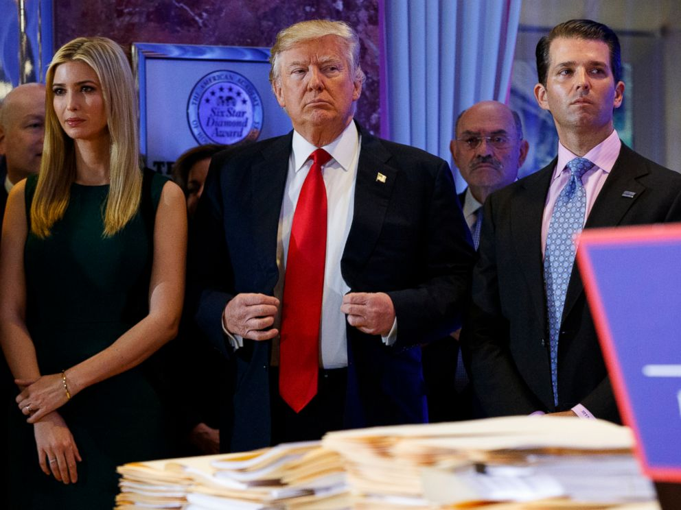 PHOTO: In this Jan. 11, 2017, photo, President-elect Donald Trump, center, stands subsequent to Allen Weisselberg, second from left, Donald Trump Jr., right and Ivanka Trump, left, during a news discussion in a run of Trump Tower in New York.