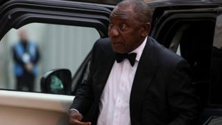 South Africa's President Cyril Ramaphosa arrives during a Commonwealth Business Forum Banquet during a Guildhall in London, 17 Apr 2018