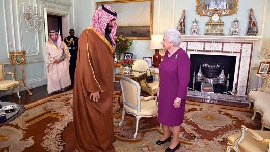 Queen Elizabeth II greets Mohammed bin Salman, a Crown Prince of Saudi Arabia, during a private assembly during Buckingham Palace on Mar 7, 2018 in London, United Kingdom.