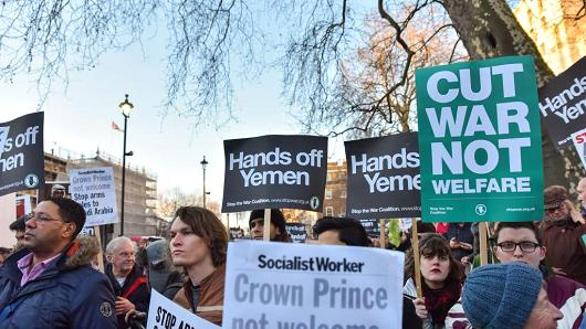 Protesters conflicting Downing Street organized by Stop a War Coalition on Mar 7, 2018.