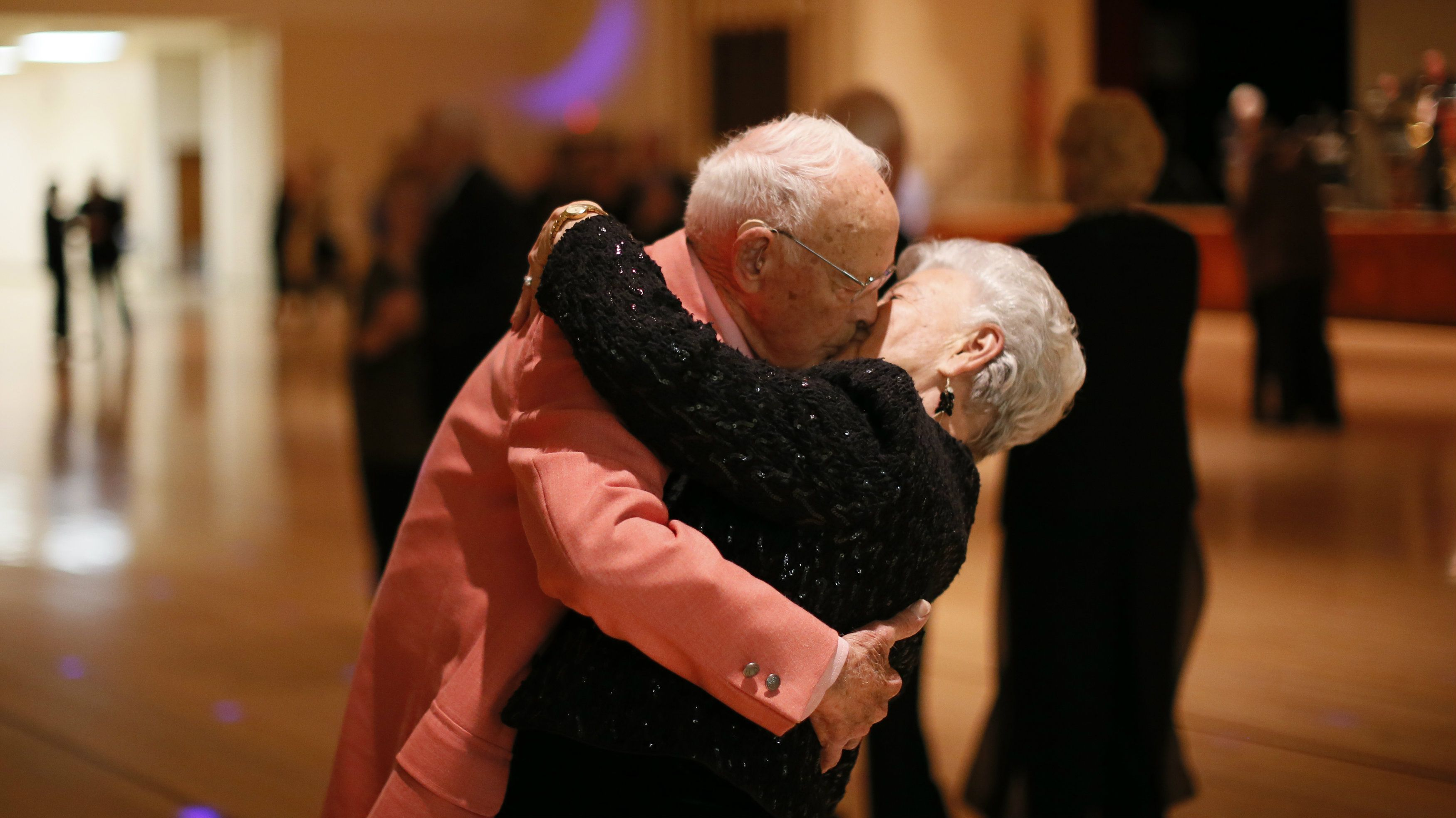 Donald Smitherman, 98, kisses his mother Marlene during a finish of a dance in Sun City, Arizona, Jan 5, 2013. Sun City was built in 1959 by businessman Del Webb as America?s initial active retirement village for a over-55's. Del Webb likely that retirees would group to a village where they were given some-more than only a residence with a rocking chair in that to lay and wait to die. Today?s residents keep their minds and bodies active by socializing during over 120 clubs with activities such as block dancing, ceramics, drum skating, computers, cheerleading, racquetball and yoga. There are 38,500 residents in a village with an normal age 72.4 years. Picture taken Jan 5, 2013. REUTERS/Lucy Nicholson (UNITED STATES - Tags: SOCIETY)
