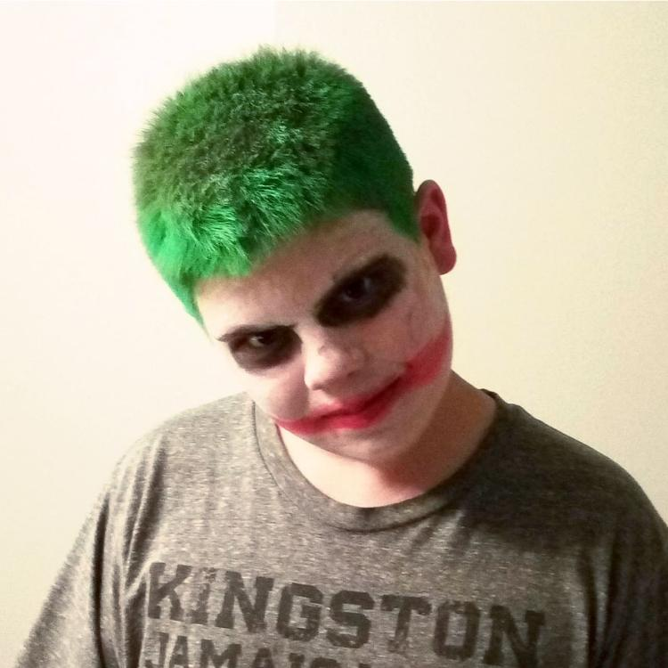 Picture of Caleb Sharpe, Freeman High School shooter from a state of Washington, dressed as a Joker from his Instagram page. He shot and killed his schoolmate Sam Strahan on Sept. 13, 2017. https://www.instagram.com/walrusmeat/