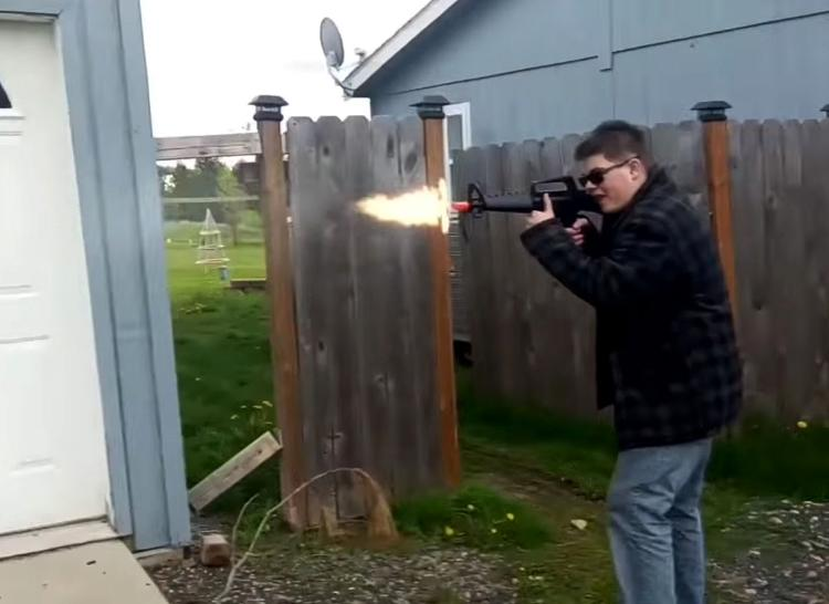 Video squeeze of Caleb Sharpe, Freeman High School shooter from a state of Washington, sanctimonious to fire his crony with a gun in one of his YouTube videos - in this shot, he is a one being killed. He shot and killed his schoolmate Sam Strahan on Sept. 13, 2017. https://www.youtube.com/watch?v=tXAUL5V6bvM