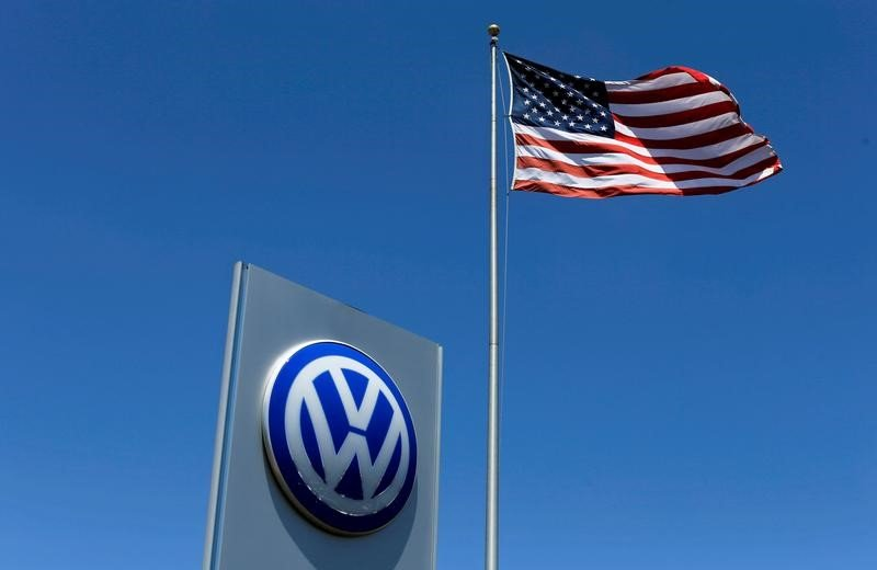 FILE PHOTO: A U.S. dwindle flutters in a breeze above a Volkswagen dealership in  California, U.S. May 2, 2016. REUTERS/Mike Blake/File Photo