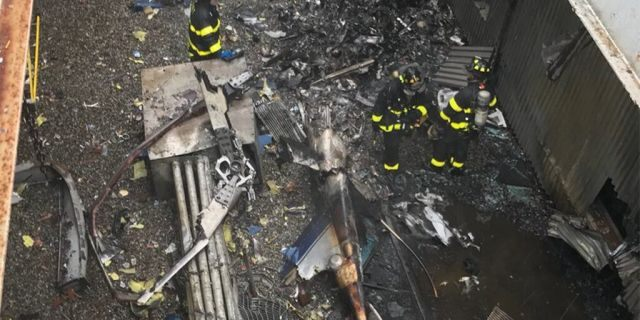 The FDNY expelled this picture from theroof of 787 Seventh Avenue in Midtown Manhattan, a sceneof Monday's helicopter crash.