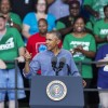 Obama, Biden surveillance mercantile gains to kinship crowds in burning Labor Day speeches